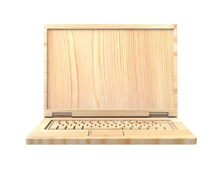 reciclable: Portátil reciclable de madera aislada sobre blanco. Ordenador de la foto 3D.