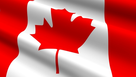canadian flag: Canadian flag background. Computer generated 3D photo rendering. Stock Photo