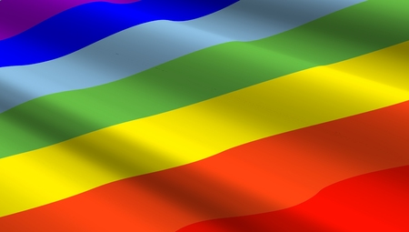 sex discrimination: Rainbow flag background. Computer generated 3D photo rendering.