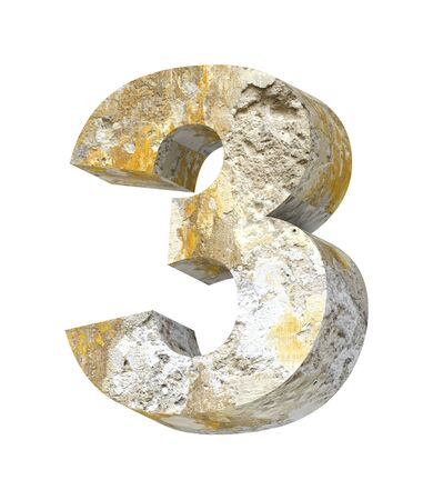 aging process: Number from old concrete alphabet set isolated over white. Computer generated 3D photo rendering.