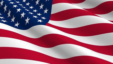 personas saludando: Estados Unidos bandera de fondo. Ordenador de la foto 3D.