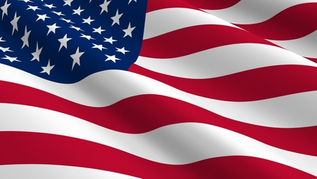 patriotic america: United States flag background. Computer generated 3D photo rendering.