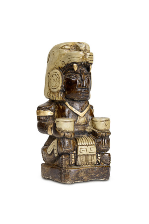 indian artifacts: Mexican statue - Mayan god bonfires home isolated with clipping path.