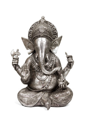 new beginnings: Figurine of Hindu god of wisdom, knowledge and new beginnings Ganesha isolated with clipping path.