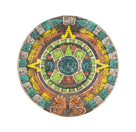 mayan prophecy: Mayan calendar. Ancient religious symbol in Mexico isolated on white with clipping path.