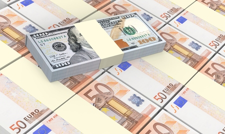 prespective: European currency bills stacked with American dollars background.