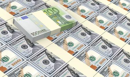 prespective: American dollars bills stacked with euro bills background.
