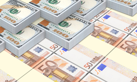 european currency: European currency bills stacked with American dollars background.