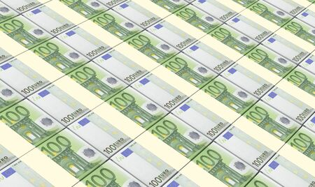 european currency: European currency bills stacks background. Stock Photo