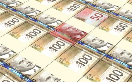 Factures en dollars canadiens empilés fond.