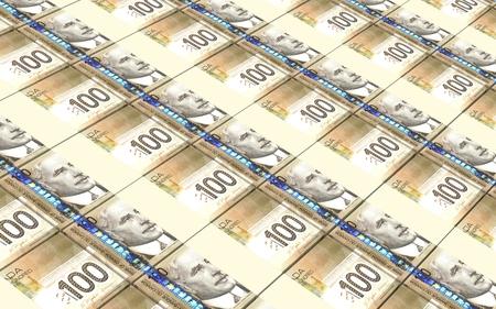 prespective: Canadian dollar bills stacked background.