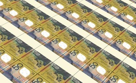 prespective: Australian dollar bills stacked background. Stock Photo