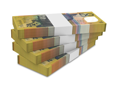 money packet: Australian dollar isolated on white background. Computer generated 3D photo rendering. Stock Photo