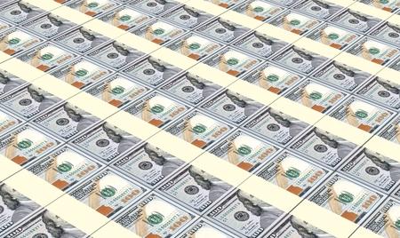 prespective: American dollar bills stacked background. Stock Photo