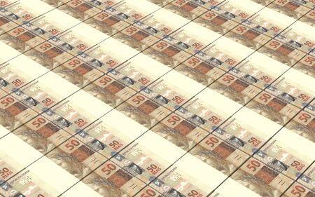 brazilian: Brazilian reais bills stacks background.