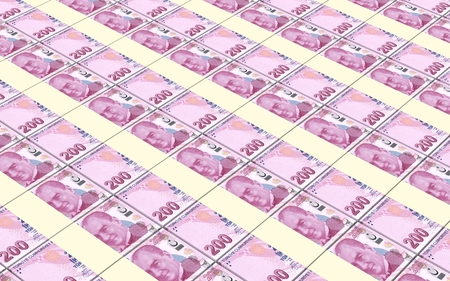 turkish lira: Turkish lira bills stacks background. Stock Photo