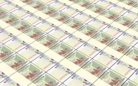 Cambodian money bills stacked background. Stock Photo