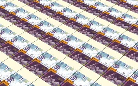 israeli: Israeli Shekel bills stacks background. Stock Photo