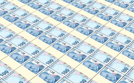 turkish lira: Turkish lira bills stacks background. Stock Photo