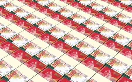 prespective: Israeli Shekel bills stacks background. Stock Photo