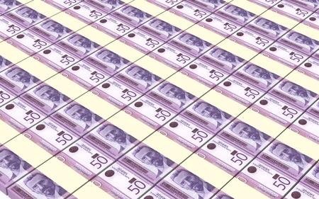dinar: Serbian dinar bills stacks background.