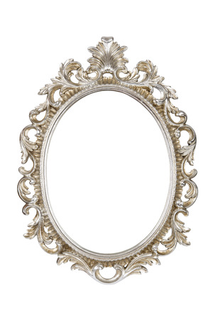 Oval silver picture frame isolated with clipping path. Foto de archivo