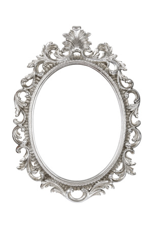 Oval silver picture frame isolated with clipping path. 版權商用圖片