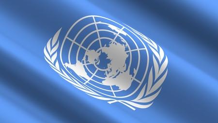 the united nations: Ondeando la bandera de las Naciones Unidas. Foto de archivo