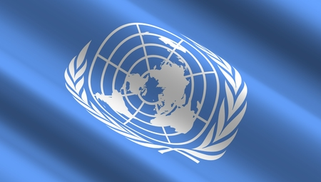 united nations: Waving flag of the United Nations. Stock Photo