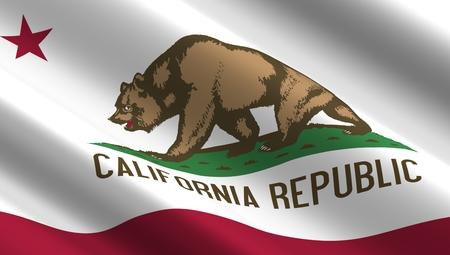 california state: Waving flag of California state.
