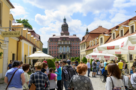 castle district: View of entrance in the Castle of Ksiaz on 4 June 2015 in the Walbrzych district Poland. This third the biggest Polish castle was built in the thirteenth century. Editorial
