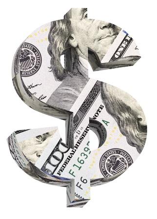 Dollar teken van een dollarbiljet alfabet set geïsoleerd dan wit. Computer gegenereerde 3D foto rendering.
