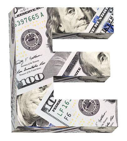 e white: letter E from a dollar bill alphabet set isolated over white Stock Photo