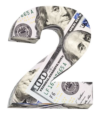 hundred dollar bill: Number 2 from alphabet hundred dollar bill isolated over white