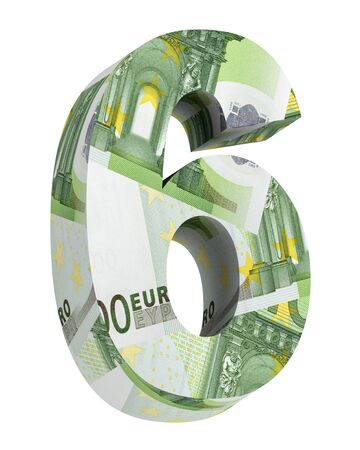 euro bill: Number from euro bill alphabet set isolated over white. Computer generated 3D photo rendering. Stock Photo