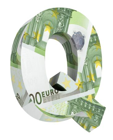 euro bill: One letter from euro bill alphabet set isolated over white. Computer generated 3D photo rendering.
