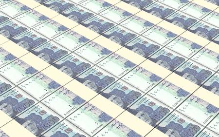 jinnah: Pakistan rupee bills stacks background. Stock Photo
