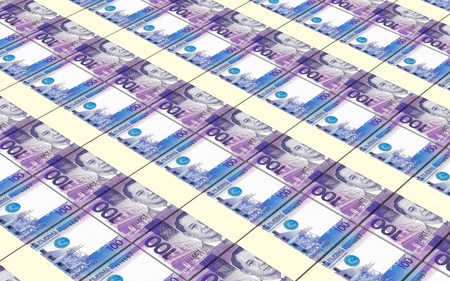 peso: Philippines peso bills stacks background.