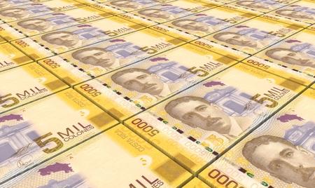 rican: Costa Rican colon bills stacks background.