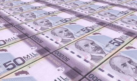 prespective: Costa Rican colon bills stacks background.