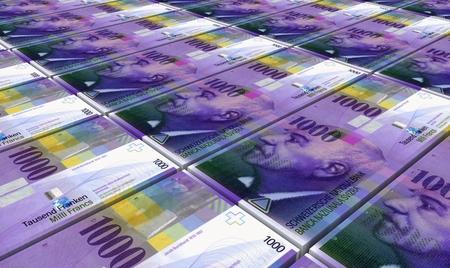 Swiss franc bills stacks background. Computer generated 3D photo rendering.