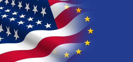 union flag: The concept of economic and political relationships the United States with the European Union. Stock Photo