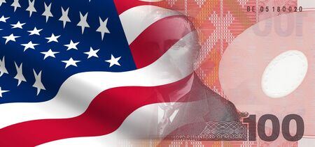bandera de nueva zelanda: El concepto de las relaciones econ�micas y pol�ticas de los Estados Unidos con Nueva Zelanda. Foto de archivo