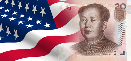 relationship: The concept of economic and political relationships the United States with China. Stock Photo