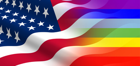 approbation: The concept of positive attitude of the United States for the LGBT community. Stock Photo