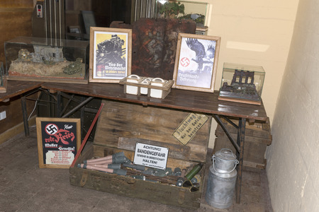 Reich: Audiovisual exhibition inside the Bunkers Bluchnera illustrating the conditions of life during World War II on 8 July 2015 in Ustka, Poland.