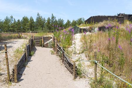 """seconda guerra mondiale: fortificazioni """"Bunker Bluchnera"""" della seconda guerra mondiale sulla costa baltica a Ustka. Polonia"""