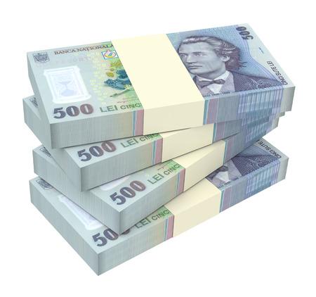 leu: Valuta rumena isolato su sfondo bianco. Generato dal computer foto di rendering 3D.