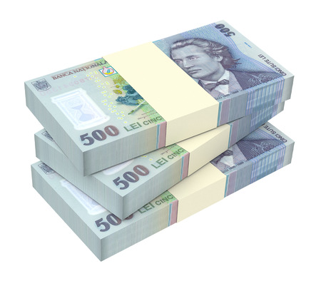 leu: Romanian currency isolated on white background. Computer generated 3D photo rendering. Stock Photo