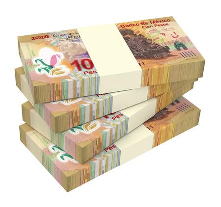 Pesos mexicanos aislados en fondo blanco. Ordenador de la foto 3D. Foto de archivo - 42923006
